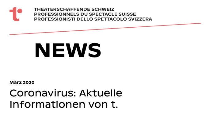 Coronavirus: Information from t. Theaterschaffende Schweiz